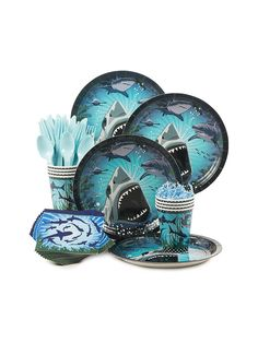 Shark Party Standard Kit (Serves 8) - Party Supplies & other Themed Tableware from Birthday in a Box
