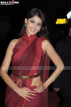Saree with belt and high collared blouse    sari accessories saree blouse design