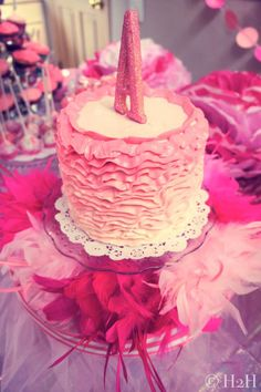 This #obre #ruffle #cake is the perfect centerpiece for a #tutu-inspired #birthday #party!
