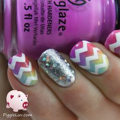 Colorful chevron twin nails via #piggieluv #chinaglaze #glitterpolish #chinaglaze - Bellashoot.com