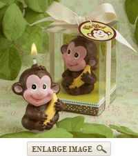 Brown and Yellow Jungle Monkey Adorable Candle Favor in Clear Gift Box with Favor Tag