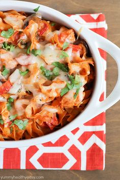 A delicious casserole with chicken, mushrooms, tomatoes and egg noodles tossed in a flavorful sauce. Best casserole EVER!