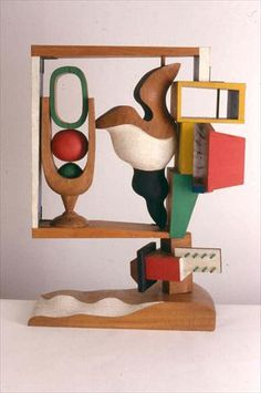 Nature morte, 1957  Polychromed wood  Dimensions : H : 0,97 m x L : 0,72 m x l : 0,40 m  Signed and dated JS LC-1957 1 / 5 on the base, executed in May 1957  Sculpture FLC 19  Paris. Fondation Le Corbusier.