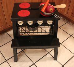 ikea hack: bevkam stool --> play kitchen + step stool.