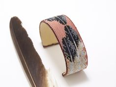 Native American Beaded Bracelets | Native American Beaded Feather Bracelet With The Colors Of Copper ...