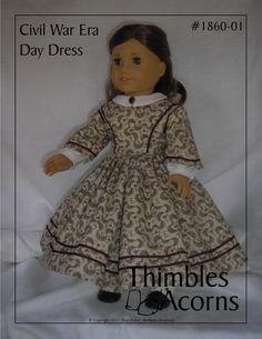 ThimblesandAcorns Pattern 1860-01 Civil War Era Day Dress $8.95
