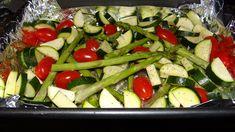 Veggies: zucchini, tomato, asparagus