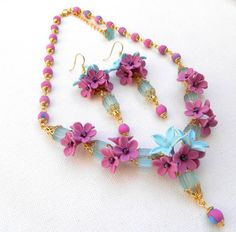 Magenta necklace earrings  Floral jewelry  by insoujewelry on Etsy