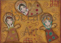 Lovely!  Golden Angels Original Mixed Media Painting on by FlorLarios, $160.00