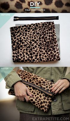 DIY~~Leopard leather fold-over clutch.