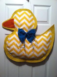 Yellow Duck baby door hanger by AmberlynsDoorDecor on Etsy, $25.00