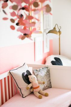 Pink & white nursery with glam accents