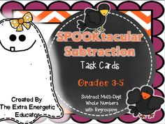 SPOOKtacular Subtraction gives students the opportunity to review multi-digit subtraction in a fun way! This product can be adapted to be used with 3rd, 4th and 5th grade students. Numbers range from 3-6 digits. $ Be sure to visit my TpT Store http://www.teacherspayteachers.com/Store/The-Extra-Energetic-Educator