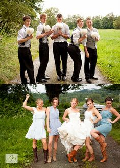 Get bridesmaids to pose as they think groomsmen do and vise versa :)
