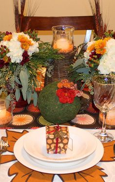 Thanksgiving table setting and favors #thanksgiving #table