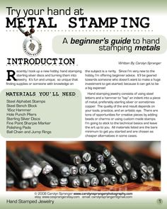 Beginner's Guide to Hand Stamped Jewelry