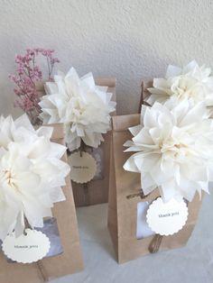 Pom Pom Party Favor Kit - Personalized - Wedding Favors - Party Favors - Bridal Shower - Wedding Favors - Vintage - Woodland - Rustic. via Etsy.