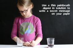 invisible ink using grape juice and baking soda (so you don't have to use heat/lemon juice)  Junior Detective badge
