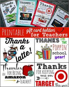 Free Printable Gift Card Holders for Teacher Hip2Save.com