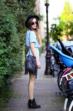 The Kooples Fedora, Motel Rocks Denim Playsuit, H Bag, Topshop Boots