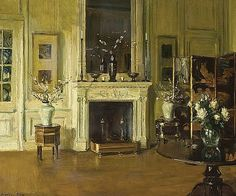 Interior with Fireplace by Walter Gay (b. January 22, 1856; Hingham, Massachusetts - d. July 15, 1937) Oil on canvas, 21 ½ x 25 ⅞ in.