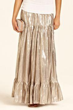 Lourdes Metallic Parachute Skirt. perfect day to evening skirt.