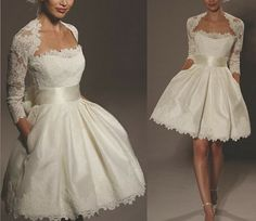 Sexy White/Ivory Sweetheart Bride Short Wedding dress Bridesmaid Gown Cocktail Mini prom dress Homecoming dress free 3/4 Sleeve Lace jacket
