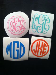Monogram Decal by ImagineItVinyl on Etsy, $2.00