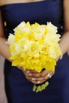 yellow tulips wedding, nautical bouquets, bridesmaid, tulip bouquet