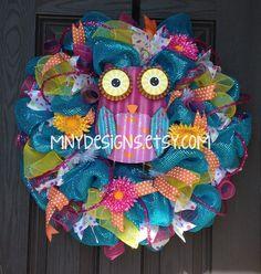 summer deco mesh wreath ideas | Bright Colored Owl Summer Deco Mesh Wreath, Indoor/Outdoor Wreath