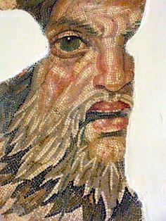 Roman Mosaic. Face. Tunis, Tunisia.