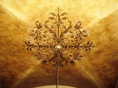 Ceiling medallion painted walls with Royal Design Studio wall stencils - Houzz