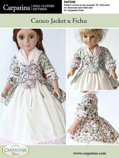 "Caraco Jacket and Fichu Doll Clothes Pattern as PDF File, Comes in 2 sizes: for 18"" American Girl and slim Carpatina dolls. $7.95, via Etsy."