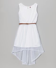 White Pin Dot Belted Hi-Low Dress | Daily deals for moms, babies and kids