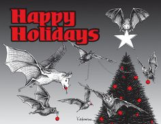 "Christmas Cards, Bats, 25 ct. - ""Happy Holidays from the Children of the Night"""