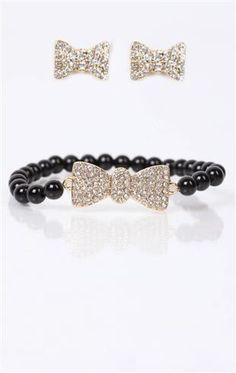 Deb Shops #bow #earrings and #bracelet set
