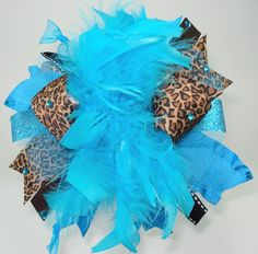 Leopard Turquiose and Bling Over the Top Hair Bow by sanchezc30, $19.99