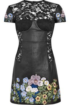 lace floral, lace embroid, christopher kane, leather lace, dresses, christoph kanejenni, embroid dressnetaportercom, floral embroid, kanejenni leather