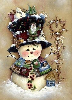 *SNOWMAN tole paint, craft, snowmen, vine, navidad, snowman, decoupage, handmade christmas cards, the holiday