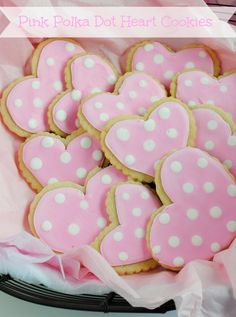 Pink Polka Dot Heart Sugar Cookies - Super adorable & yummy!!!!!  <3