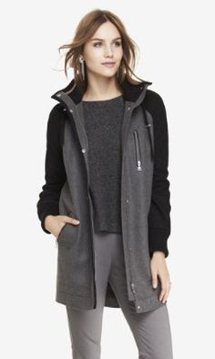 WOOL BLEND HOODED STADIUM COAT from EXPRESS I probably won't need something this warm in CA, but so cute nonetheless.