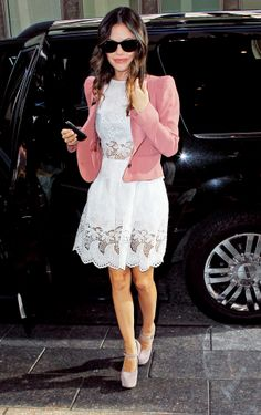 White Lace See-Through Peek-a-Boos.   Shoulder Pad Look in a fitted Crop Blazer. Blush hue. I can't stop eying her shoes.... What a classic lady.
