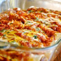dinner, enchilada sauce, foods, chicken enchiladas, shred chicken, cooking spray, chickenenchilada, recip, shredded chicken