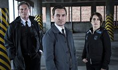 the best thing on tv since The Bridge - Supt Ted Hastings (Adrian Dunbar), DS Steve Arnott (Martin Compston) & DC Kate Fleming (Vicky McClure) in Line of Duty. BBC2