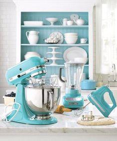 decor kitchen colors, tiffany blue, kitchen aid mixer colors, dream kitchen appliances, blue kitchens, kitchenaid appliances, new kitchens, turquoise kitchen decor, dream kitchens