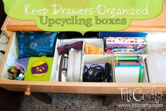 Keep Drawers Organized Upcycling Boxes (Spelling mistake corrected LOL)