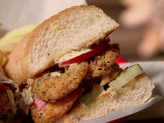 Fried Oyster and Shrimp Po' Boys Recipe : Guy Fieri : Food Network - FoodNetwork.com