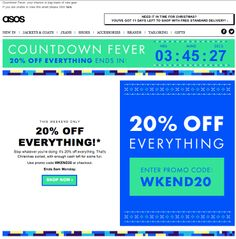 ASOS used a live animated countdown clock in this email to show how much time remained until the end of a sale. #emailmarketing #retail #countdownclock