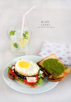 grilled Eggplant and fried egg sandwich