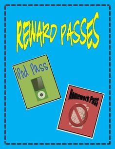 Free: Reward Passes for Classroom Management